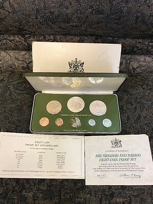 1975 Coinage of Trinidad and Tobago 8-coin Proof Set SEALED Green Case Silver