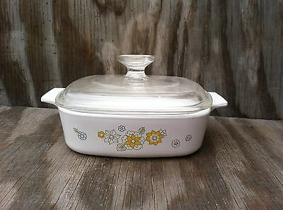 Corning Ware Floral Bouquet 1 Quart Casserole Dish With A Clear Glass Lid