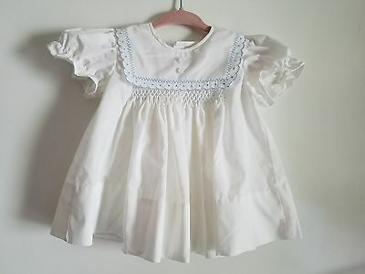 Vintage Baby Girls White and Blue Dress
