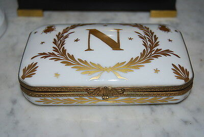 Large Vintage Napoleon Gold N Hand Painted Manufacture Imperiale Porcelain Box