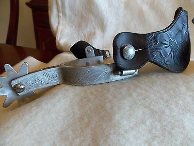Vintage Pair Western Spurs With Hand Tooled Leather 9 Points Engraved