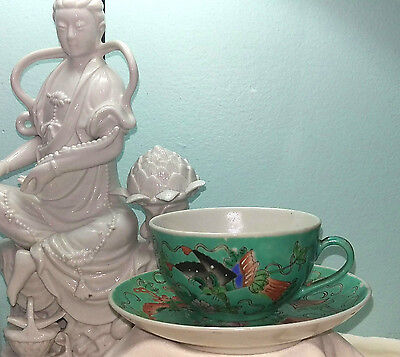 Vintage Chinese Enamel Porcelain Cup & Saucer w/ Insects Fairyland Butterflies