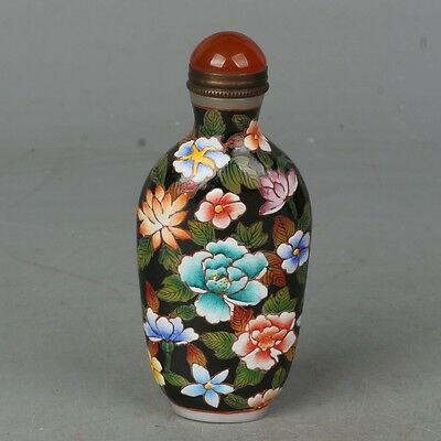 Chinese Exquisite Hand Painted Floral pattern Glass snuff bottle