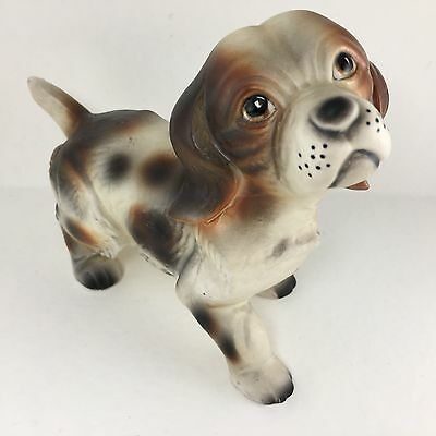 Brown White Dog Puppy Hound Looking To Play Figurine 10011 VTG Japan