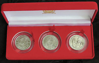 1983 & 1986 Thailand 10 Baht Boxed 3 Coin Set Trees Einstein & Alphabet Rama IX