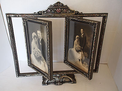 "15"" Antique Deco Carved Wood Silver Hand Paint Swivel Swing Double Picture Frame"