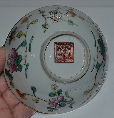 Antique Chinese Famille Rose Porcelain Bowl Iron-red Mark 19th C Qing