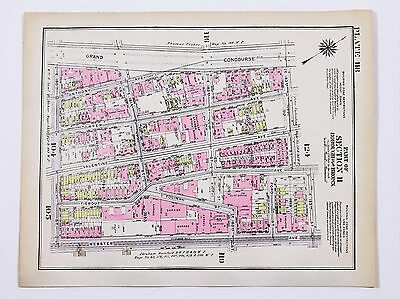 1928 Fordham Heights Bronx New York Map Tremont Belmont  Grand Concourse EXRARE