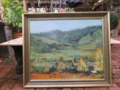 Large Vintage Original Oil  Painting Ben Oram Green  Farm Scene Landscape