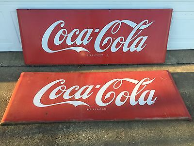 "Rare, Large 1950s Coca Cola Porcelain Sled Sign 67"" x 24"" Good Condition"