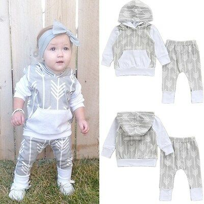 New 0-18M Newborn Baby Kids Boys Clothes Hooded Tops+Long Pants Outfits Set
