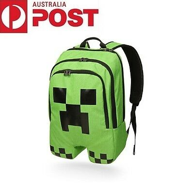 Minecraft School Backpack Creeper Rucksack Waterproof Book Storage Bag Sports