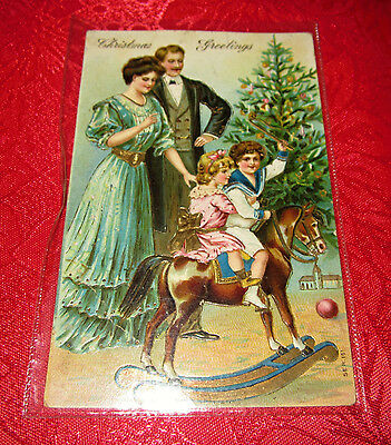 ANTIQUE POSTCARD CHRISTMAS GREETINGS WITH NSW STAMP 1900s RARE