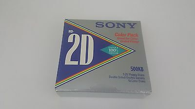 Sony MD2D MD-2D 5.25 130mm 500kb - 10 Floppy Discs Color Pack! Brand NEW!