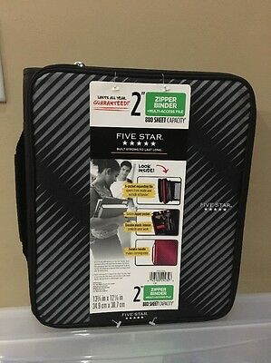"Five Star 2"" Durable Zipper Binder Includes 5 Pocket Expanding Files, Black New"