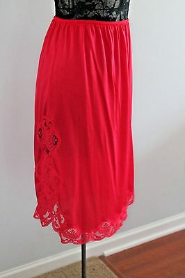 Vintage Half Slip Impulse RED Lace Silky Antron Nylon LARGE