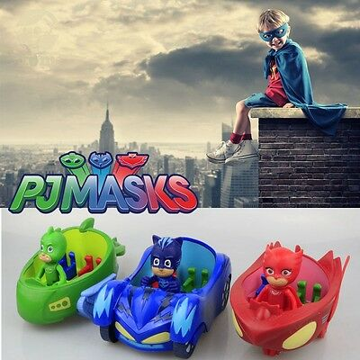 2017 PJ Masks Toy Car Action Figure Catboy Owlette Gekko Glider Mobile Toys+Box
