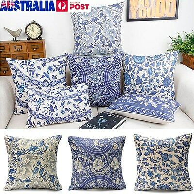 Vintage Oriental Blue Floral Cotton Linen Cushion Cover Pillow Case Home Decor