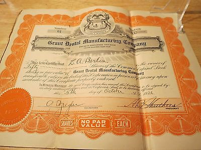 Bonds 50 Shares Certificate Capital Stock US 1926 Grant Dental Manufacturing Co