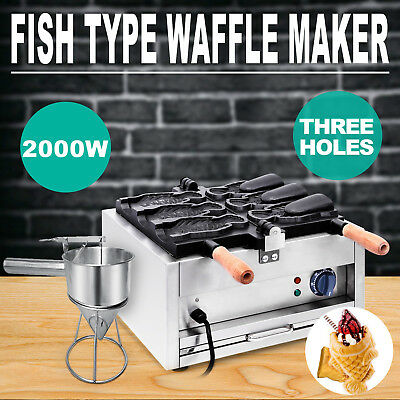 NEW Commerical Taiyaki Fish Waffle Maker Machine With Funnel 2000W CE 3 hole