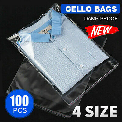 100x Cello Bag Cellophane Clear Resealable Plastic Self Sealing Adhesive