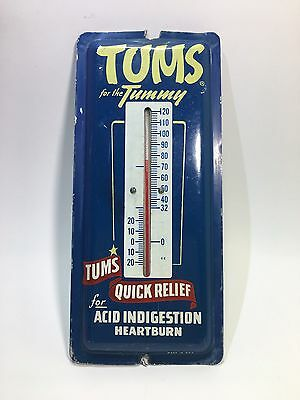 Vintage TUMS Metal Advertising THERMOMETER Tums For The Tummy