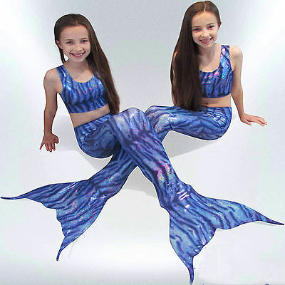 Kids Girls 3Pcs Swimmable Mermaid Tail Bikini Beach Swimming Costume Swimsuits