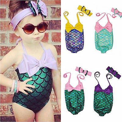 Girls Kids Mermaid One Piece Bikini Swimwear Swimsuit Swimming Bathers Costume