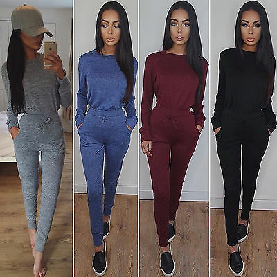 2Pcs Womens Tracksuit Hoodie Sweatshirt Tops + Long Pants Trousers Gym Sportwear