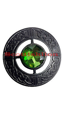 "Scottish Kilt Fly Plaid Brooch Green Stone Black Finish 3""/Celtic Brooches Stone"