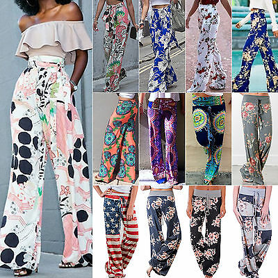 Women Yoga Boho Hippie Loose Palazzo Pants Floral High Waist Long Trousers Beach