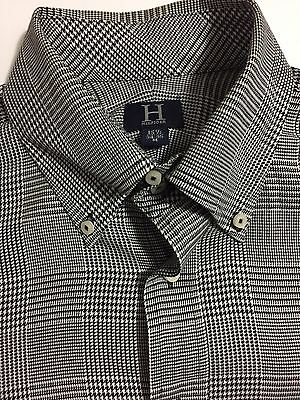 Hilfiger Men's Black White Plaid Long Sleeve Button Down Shirt Size M 15 1/2