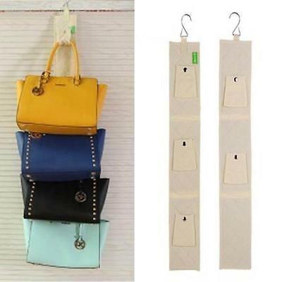 5 Hook Handbag Bag Purse Holder Shelf Hanger Rack Organizer Rear door Beige HZ