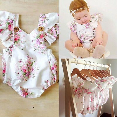 Toddler Baby Girls Romper Headband Jumpsuit Outfits Newborn Sunsuit Clothes AU