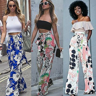 Women Boho Loose Floral Wide Leg Pants Palazzo Harem Long Trousers High Waisted