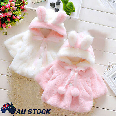 Baby Infant Girls Fur Winter Hooded Coat Cloak Jacket Thick Soft Clothes Tops