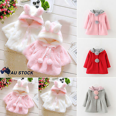 Baby Girls Kids Rabbit Ears Hoodies Coat Winter Clothes Warm Jacket Pony Hoodie