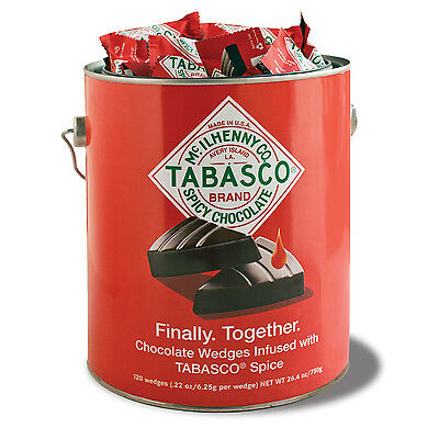 907682 750g PAINT CAN OF 120 x CHOCOLATE WEDGES INFUSED WITH HOT TABASCO SPICE!