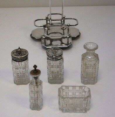 Vintage Glass Cruet condiment set on Welbeck quadruple plated stand