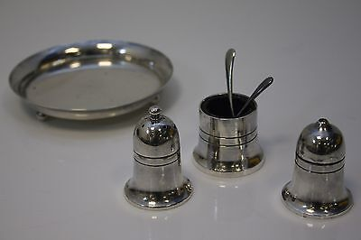 Mappin & Webb silver plate 3 piece cruet set Mustard pot salt and pepper
