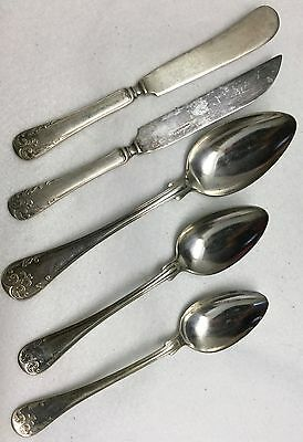 5pc c. 19th c. PRIMA NS ALP Flatware Silverplate Piece Lot - PMV4 - SWEDEN