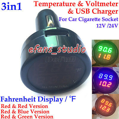 3in1 Car 12V 24V Digital LED Voltmeter + Thermometer + Cigar Lighter USB Charger