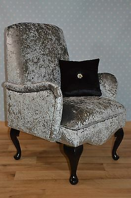 Shabby Chic Small Bedroom Chair Silver Crushed Velvet Inc mainland UK DELIVERY!