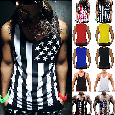 Men Muscle Chest Bodybuilding Vest Tank Top Sleeveless Gym Workout Fitness Vests