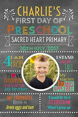 First Day Of School Milestone Blackboard Poster - Digital File