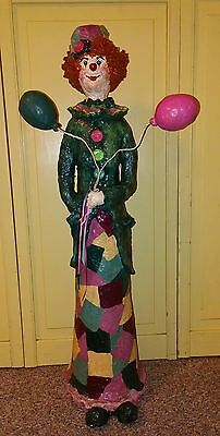 """Vintage Hand Crafted Colorful Paper Mache Clown 28"""" Tall... By: Barb 1996."""