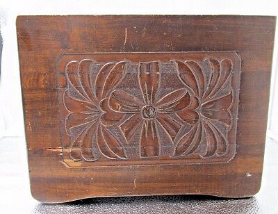 Vintage - Dark Wooden Box - Lg. - Dovetail Joints and Hinged Carved Lid