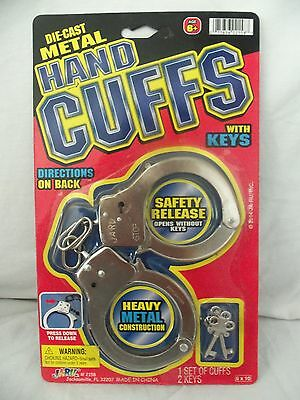 Hand Cuffs Die Cast Metal With Keys Heavy Metal Construction With Safety Release
