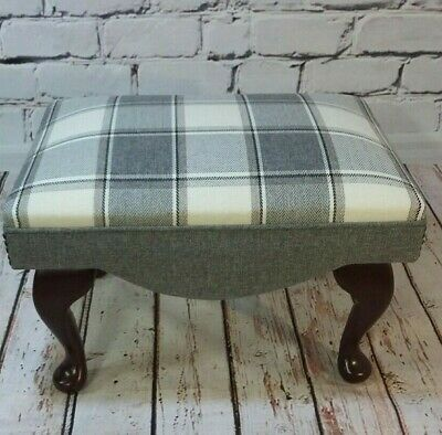 Shabby Chic Country Footstool,  Grey and cream tartan  inc MAINLAND UK DELIVERY!