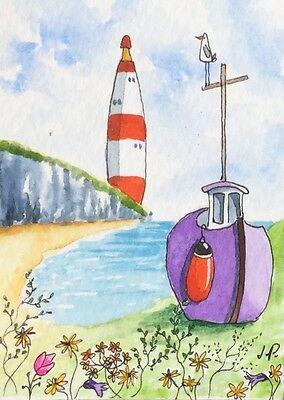 Original Watercolour ACEO Painting by JULIA Seaside Beach, Lighthouse, Boat